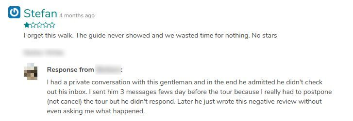 Answer of a bad review on GuruWalk.