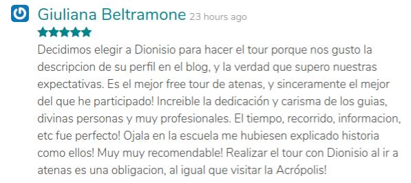 Captura de pantalla de una buena opinión explicando lo bueno que era la descripción de su tour en GuruWalk.