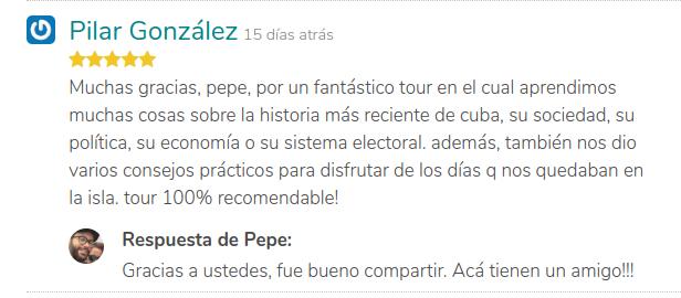Respuesta de una buena opinión de un tour de GuruWalk en Cuba.