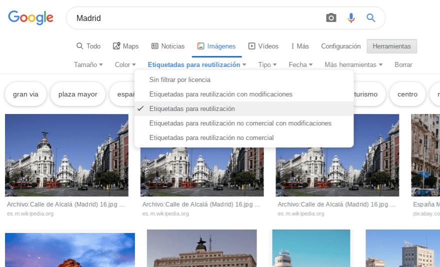 Buscando Madrid en Google Imágenes con filtro libre de uso.