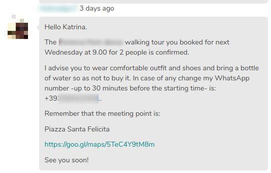 Confirmation message of a guru of GuruWalk for a tour in Athens.