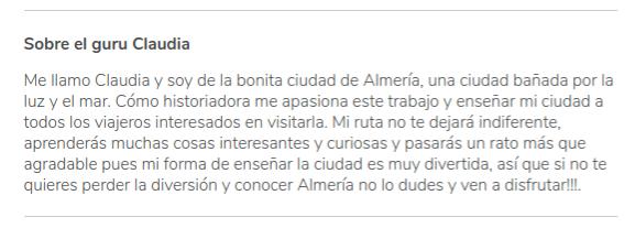 Descripción del perfil de Claudia, guía para GuruWalk en Almeria, España