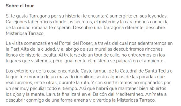 Descripción del tour de Jesús en Tarragona, España, de la plataforma GuruWalk.