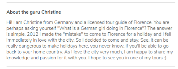 Description of the profile of Christine, free tour guide in Florence.