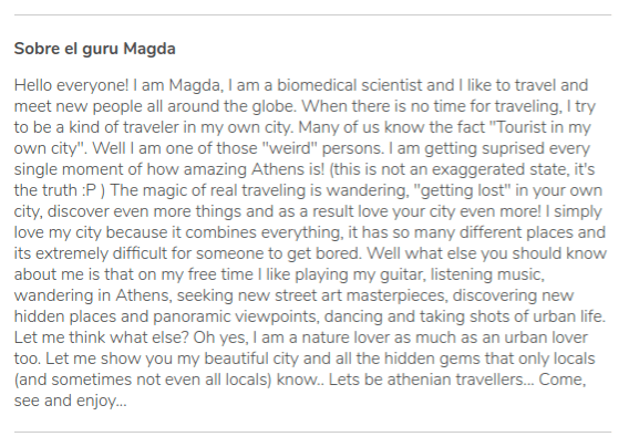 Long description of the profile of Magda, tour guide in Athens for GuruWalk