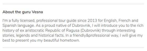 Description of the profile of the guide Vesna of Dubrovnik on GuruWalk