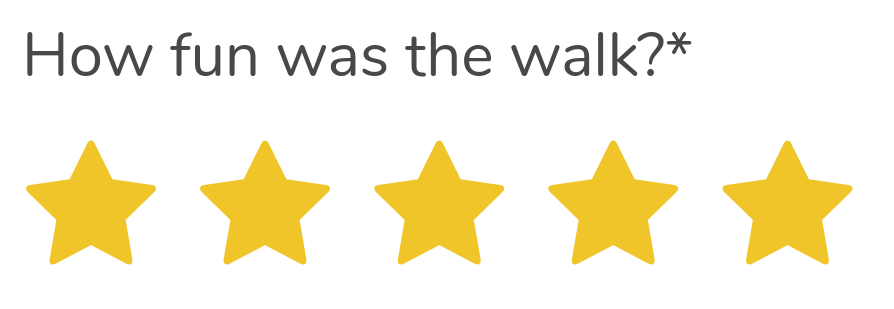Text saying how fun was the walk followed by 5 yellow stars.
