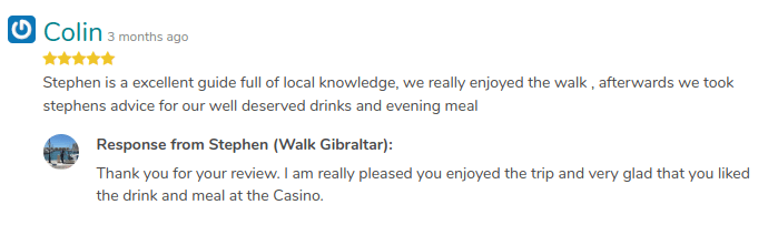 Positive review on a tour of GuruWalk answered by the guide.