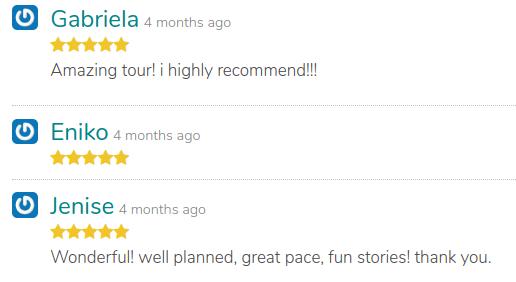 3 positive reviews on a tour of GuruWalk.