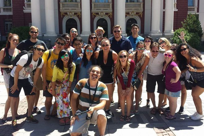 Group picture during a free tour in Sofia, Bulgaria.