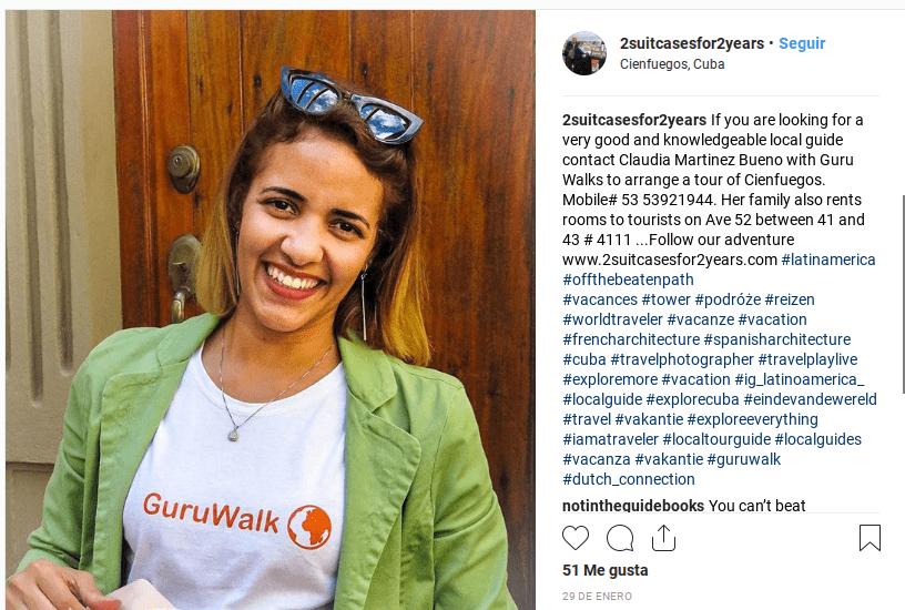 Captura de pantalla de una publicación en Instagram enseñando una guía de GuruWalk en Cienfuegos, Cuba.