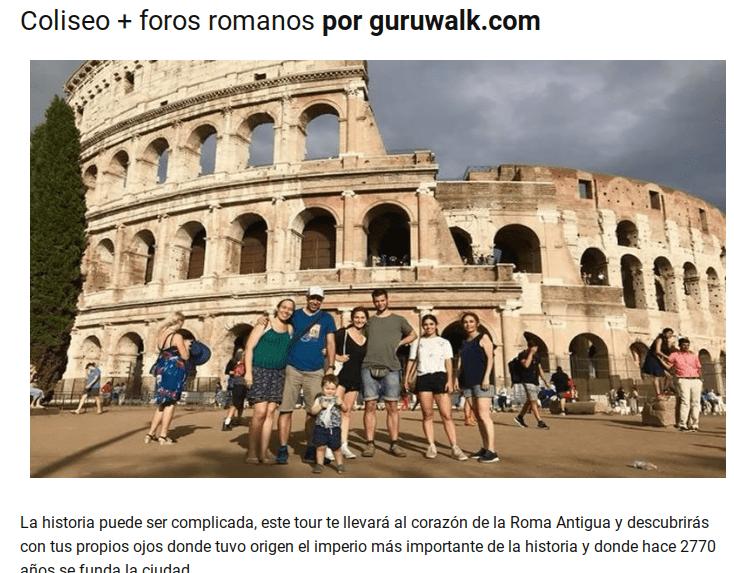 Publicación de un tour del Coliseo de GuruWalk en un sitio web.