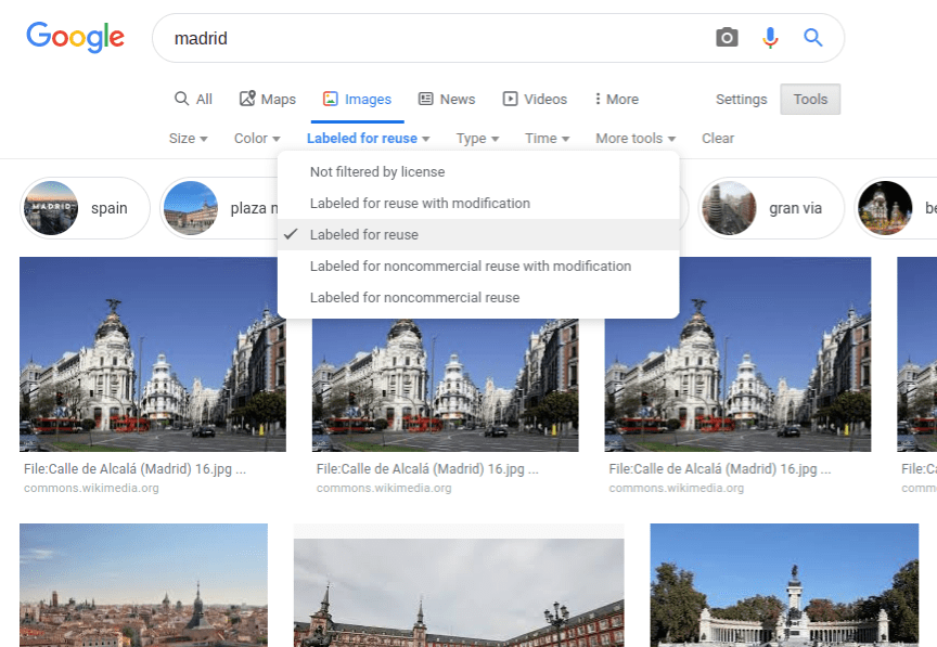 Searching for free-right pictures of Madrid in Google Images.