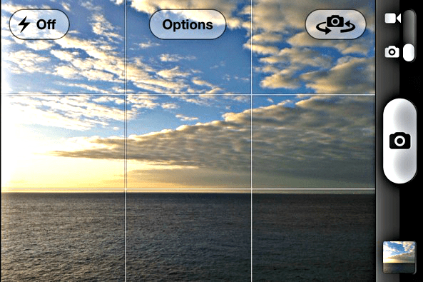 The screen of the camera of a mobile phone
