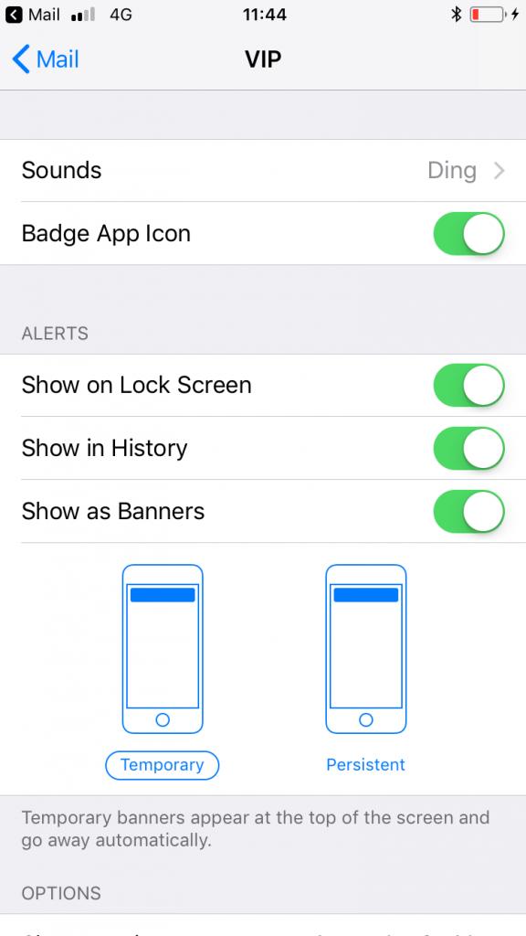 Captura de pantalla de un Iphone para poner un contacto en su lista VIP.