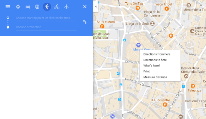 Screenshot of the planning of a guruwalk in Valencia using Google Maps.