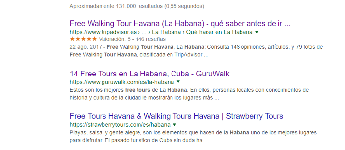 Screenshot of the Google Searches for a free walking tour in Cuba.
