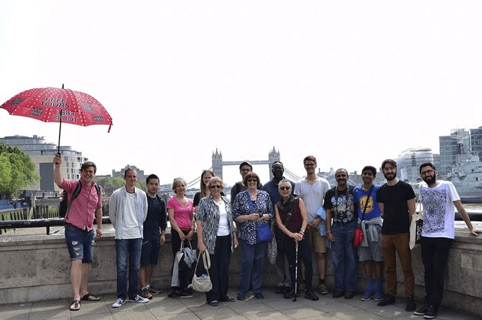 Group picture of travelers on a free walking tour in London, UK.