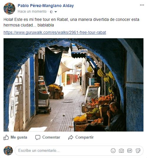 Captura de pantalla del proceso de promoción de un guruwalk en Facebook.