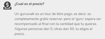 Texto de la página de GuruWalk que explica cuál es el precio de sus visitas guiadas.