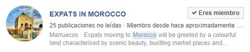 Imagen de el enlace de un grupo de expatriados de Marruecos en Facebook