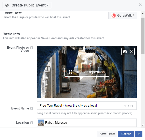Showing how to create a Facebook event for a guruwalk.
