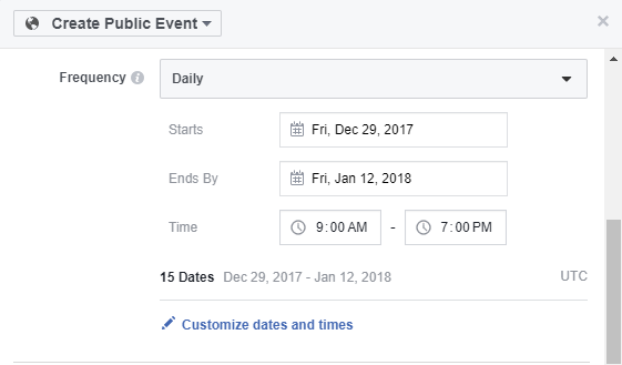 Creating an event on Facebook.