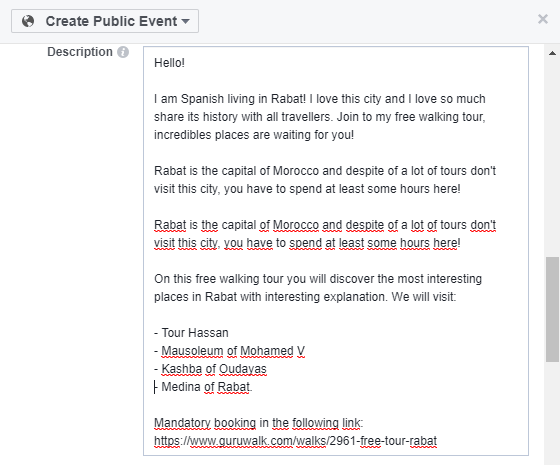 Showing the description of a Facebook event.