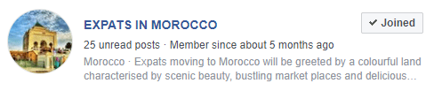 Preview of a Facebook group of expat in Rabat.
