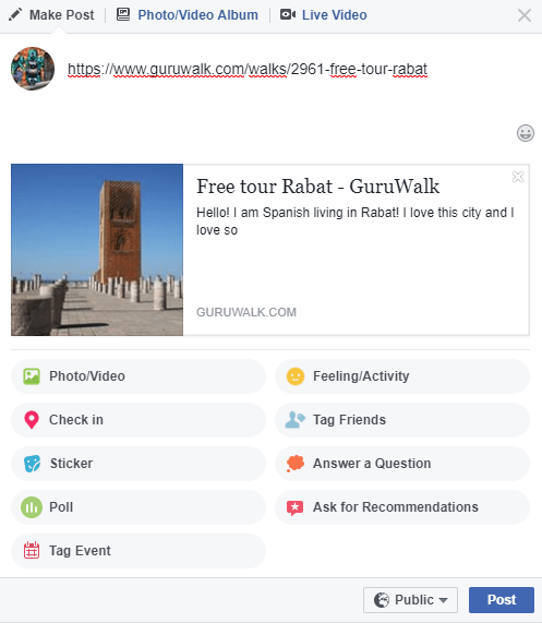 Post in Facebook of a guruwalk of Rabat.