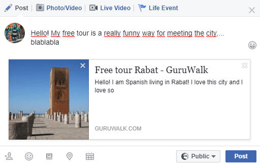 Post about a guruwalk in Rabat on Facebook