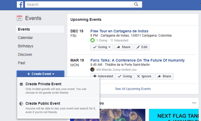 Showing how to create a Facebook event.