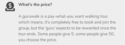 Tipping text on what's the price of the guided tour of GuruWalk.