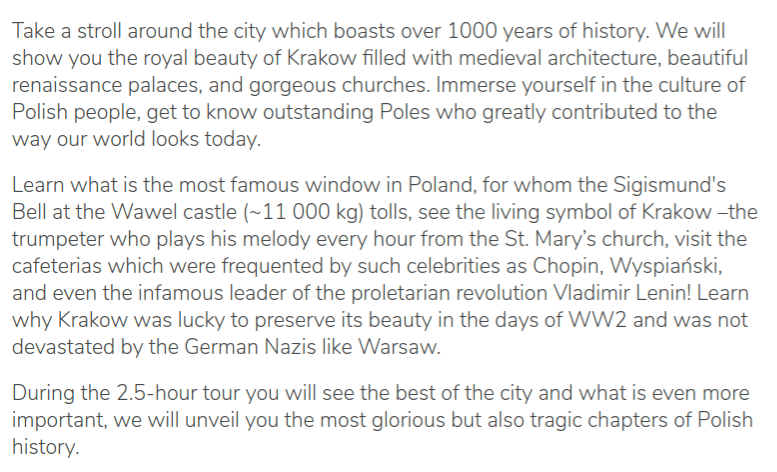 Tour description of the guruwalk of Krakow Explores, in Poland.