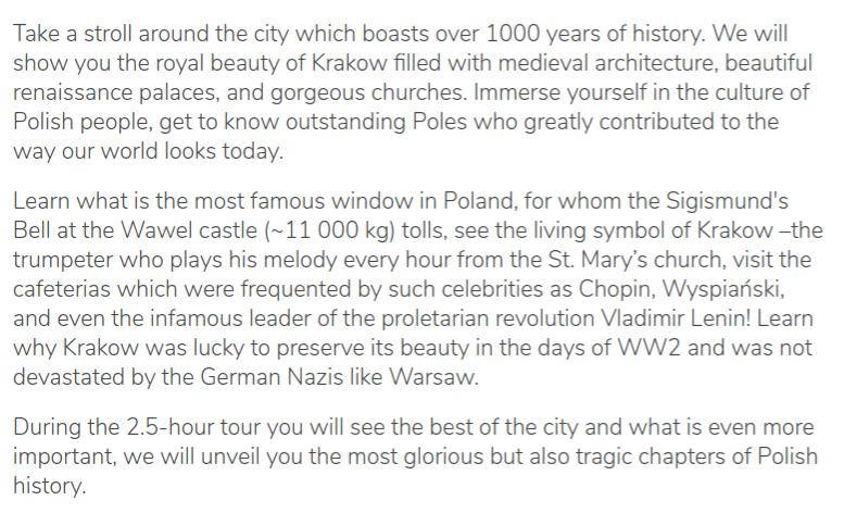 Tour description of the guruwalk of Krakow Explores, in Poland.