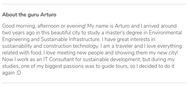 Description of the tour of Arturo in GuruWalk.