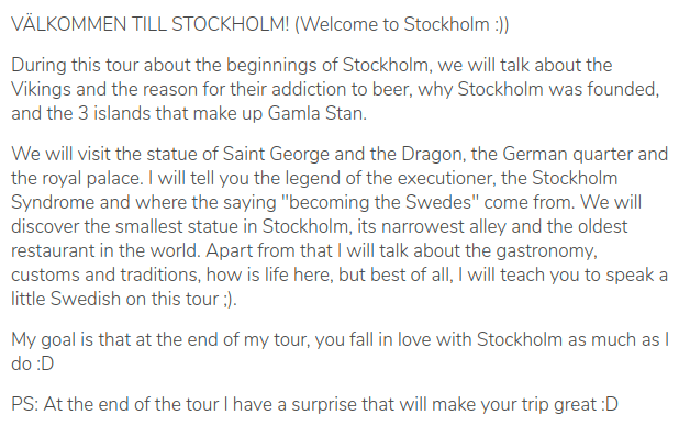 Description of the tour of Arturo, guru in Stockholm, Sweden, on the platform GuruWalk.