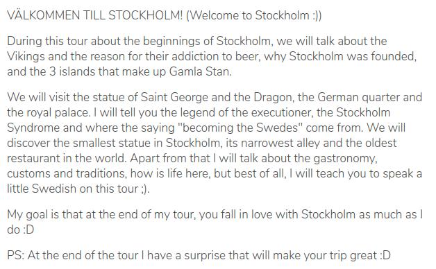 Description of the tour of Arturo, guru in Stockholm, Sweden, on the platform GuruWalk.