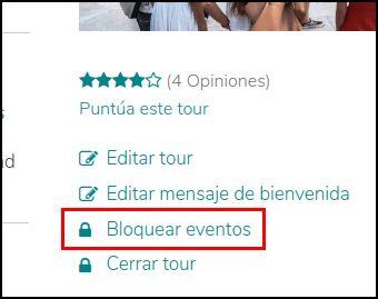 Parte de la página del tour para bloquear los eventos en GuruWalk.