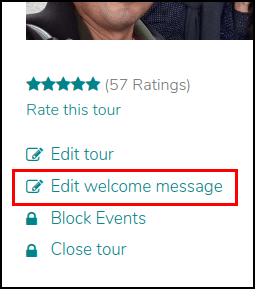 Screenshot of the page of a tour on GuruWalk showing where the 'edit welcome message' button is located.