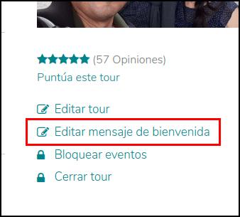 Captura de pantalla de la página de un tour en GuruWalk enseñando la opción de editar el mensaje de bienvenida.