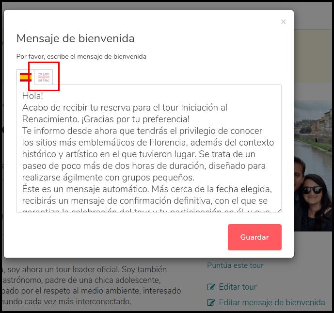 Captura de pantalla de un ejemplo de mensaje de bienvenida que se envia en GuruWalk