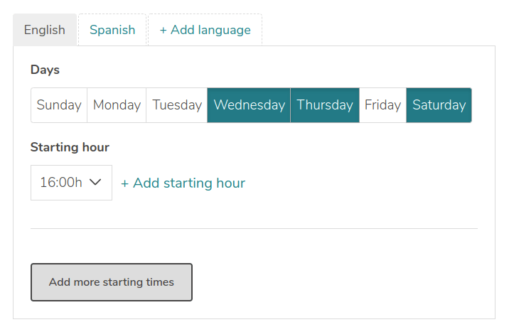 Screenshot of the timetable of a tour on GuruWalk.