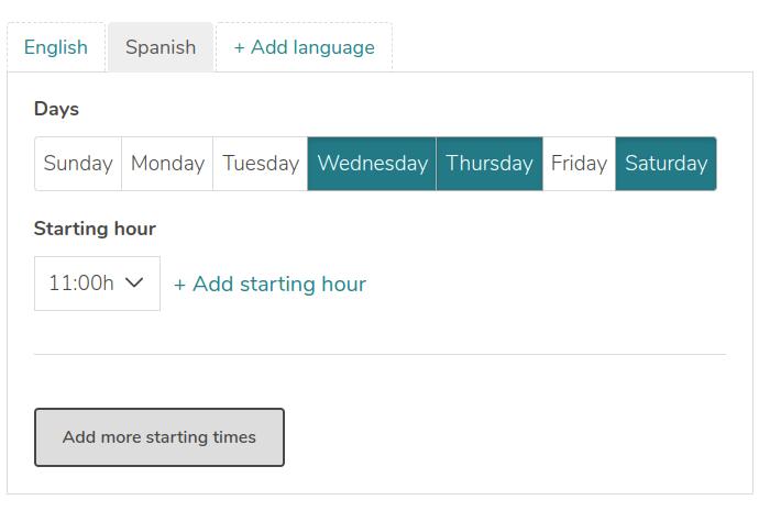 Screenshot of a timetable of a tour on GuruWalk platform.