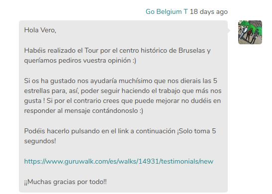 Un mensaje de un agencia de free tour pidiendo una buena reseña y feedback a su página en la plataforma GuruWalk