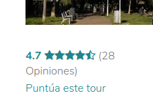 Captura de pantalla de una parte de una página de tour de la plataforma GuruWalk que invita el viajero a dejar una reseña.