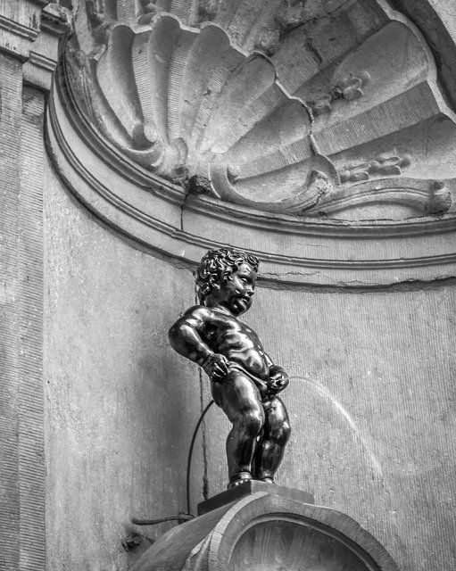 Manneken Pis, the statue of the peeing boy in Brussels, Belgium.