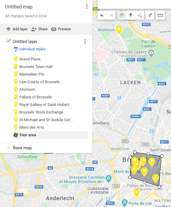 Screenshot of a personalized Google Maps showing places of interest in Brussels, Belgium.