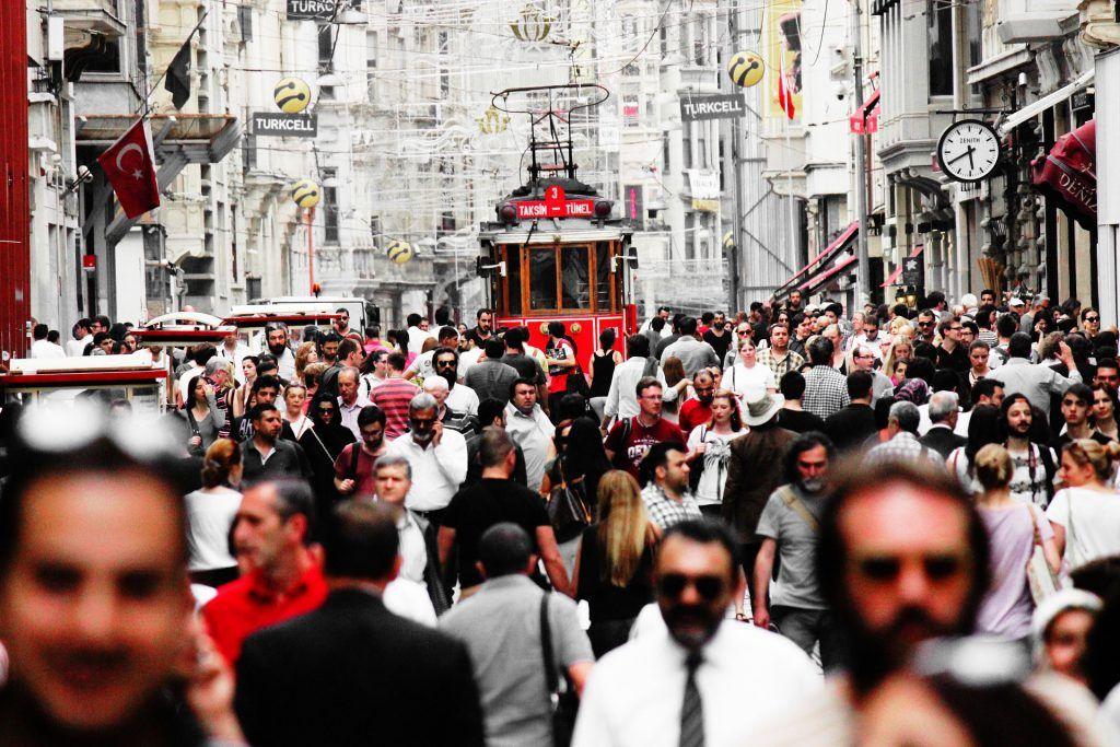 A crowded street in Turkey.